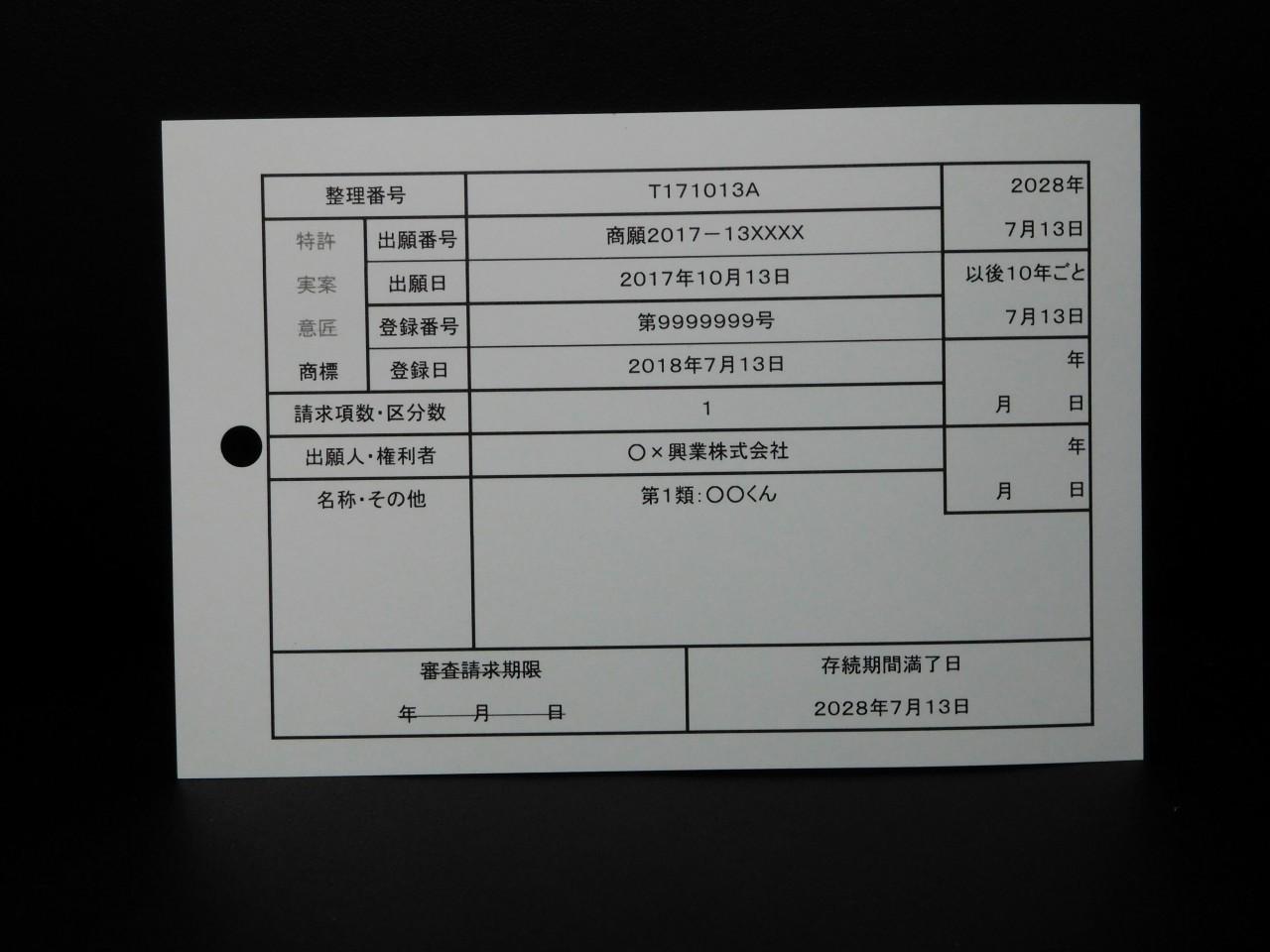 知財管理カード(商標登録)