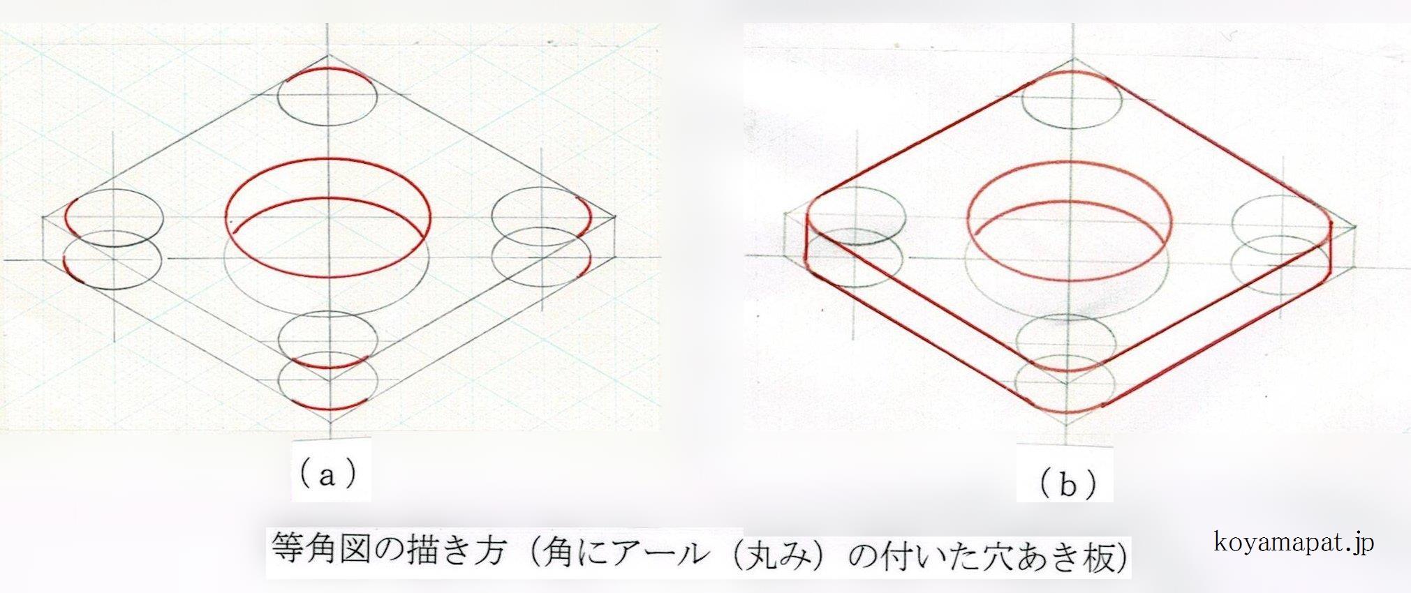 等角図の描き方(角にアール(丸み)の付いた穴あき板)