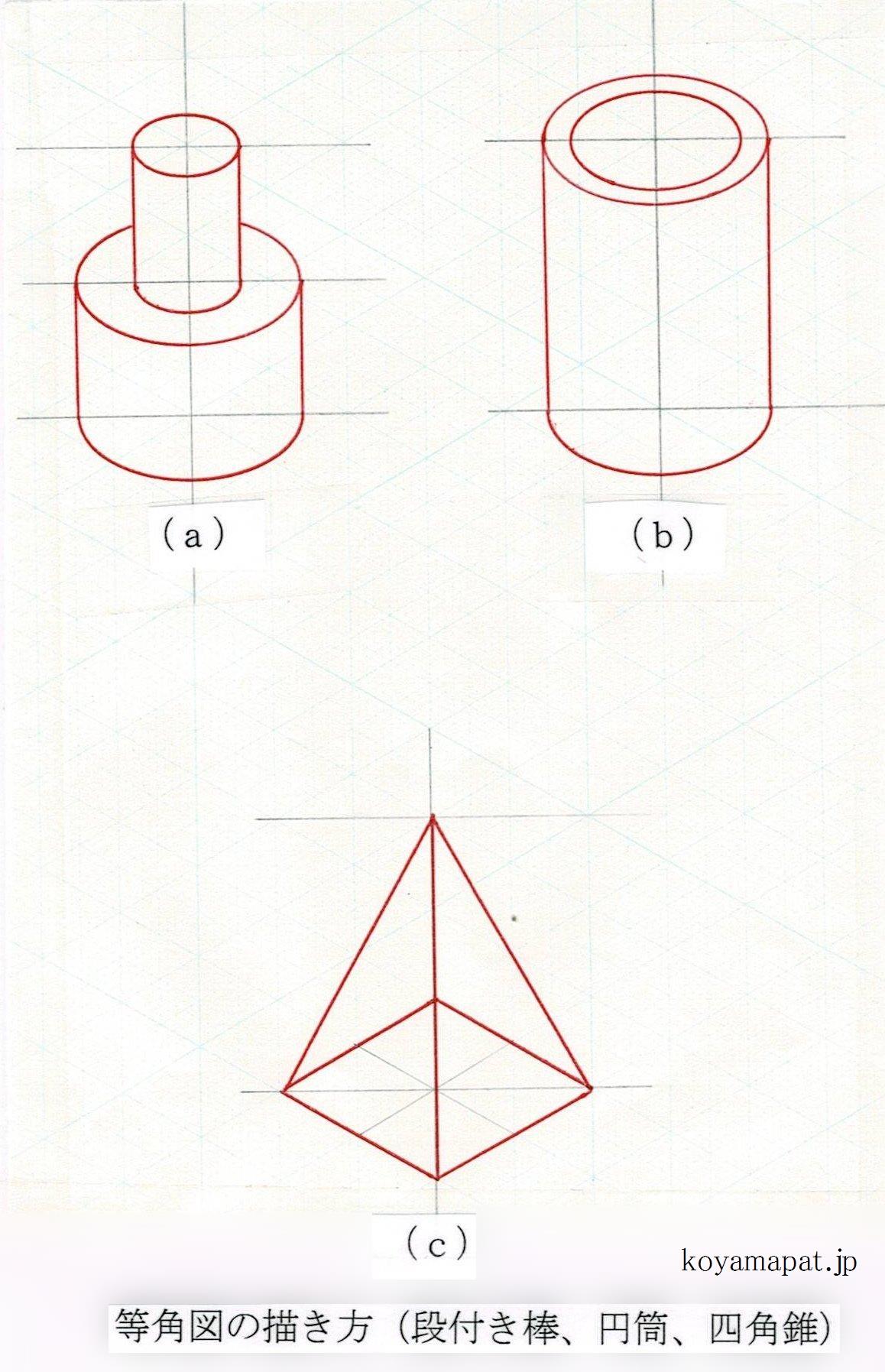 等角図の描き方(段付き棒、円筒、四角錐)